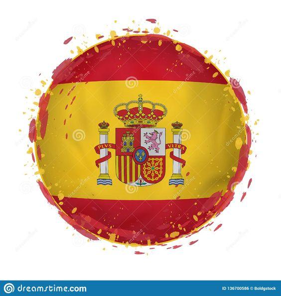 Ilustración acerca La bandera redonda del grunge de España con salpica en color de la bandera Ilustración del vector. Ilustración de icono, indicador, brillante - 136700586