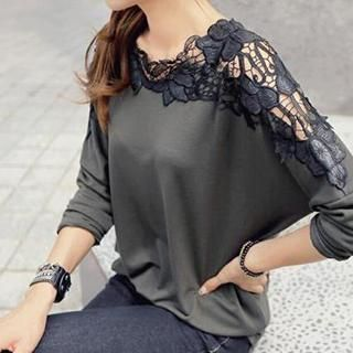 Buy 'Dream Girl � Lace Panel Long-Sleeve Top' with Free International Shipping at YesStyle.com. Browse and shop for thousands of Asian fashion items from China and more!: