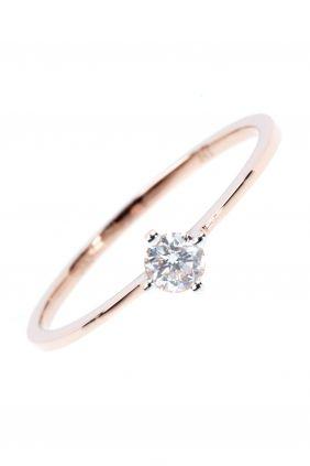 diamant ring rosegold schlicht elegant, allerdings in Gelbgold