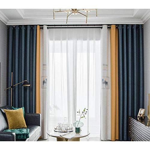 Hunol Blackout Curtains Polyester Color Matching Curtains Blackout Thermal Insulated For Bedroom L Double Curtains Living Room Living Room Bay Window Curtains