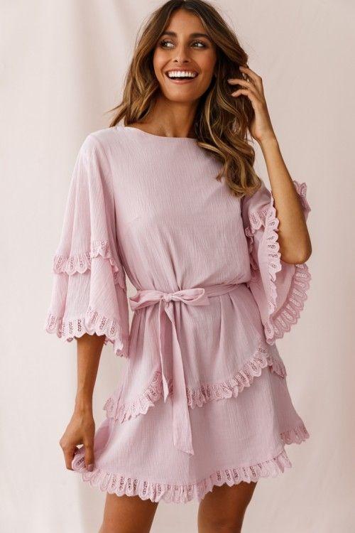 Talitha Waist Tie Lace Trim Dress Blush Blush Dresses Casual Day Dresses Lace Trim Dress