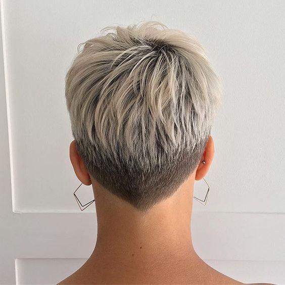 Two Tone V Nape Short Hair Haircuts Hair Styles Super Short Hair
