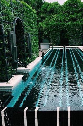 black white striped tile pool