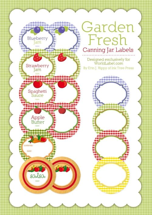 canning jar free labels.  Great site for free printable labels.