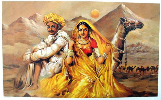 Rajasthani Husband And Wife With Camel Painting (Canvas Art)