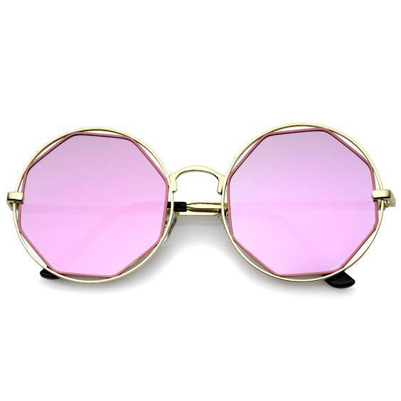 Retro Oversize Metal Frame Cutout Octagon Mirror Lens Round Sunglasses 53mm  #sunglasses #sunglass #frame #bold #summer #sunglassla #oversized #purple #cateye #womens