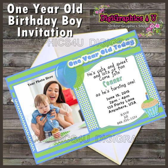 One Year Old Boy Or First Birthday Party Invitation