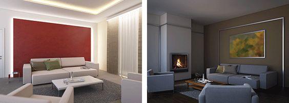 led deckenbeleuchtung wohnzimmer gelbes lichtabgehängte decke ... - Led Deckenbeleuchtung Wohnzimmer