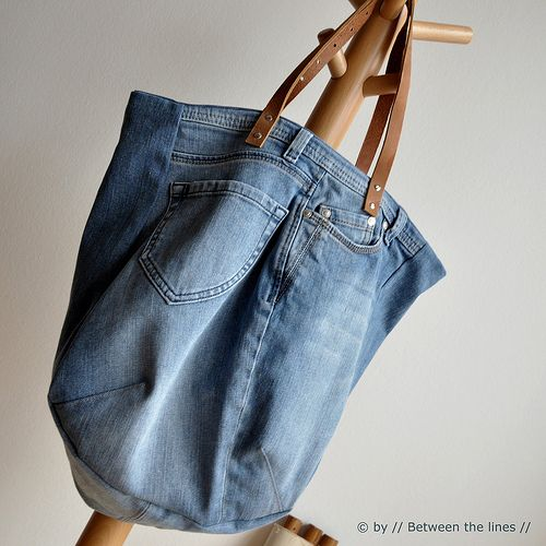 Repurpose an old pair of jeans into a sweet bag with this great how-to by- Between The Lines