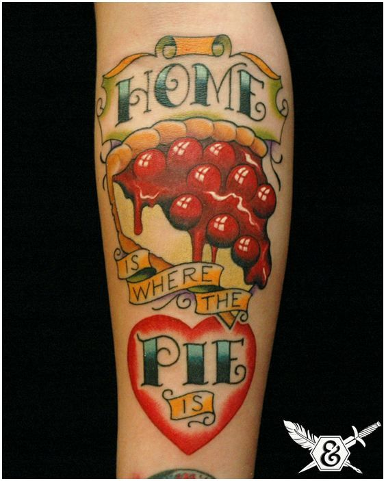 Sweet Cherry Pie dessert food tattoo