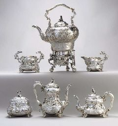 A VICTORIAN SILVER SIX-PIECE TEA AND COFFEE SERVICE** Mark of Edward Farrell, London, 1839; the kettle on stand and tea caddy mark of John Samuel Hunt, London, 1860 Comprising a kettle on stand with burner, coffee pot, teapot, open sugar bowl, cream jug and tea caddy; each on four mask feet, the body chased with rustic tavern scenes after Teniers, the sugar bowl and cream jug with handles formed as a drunken figure seated on a branch, the kettle, coffee pot and teapot with drunken figure…