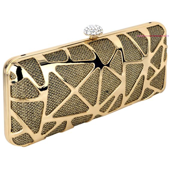 MG Collection Gold Glitz Abstract Rhinestone Hard Case Evening Clutch Minaudiere