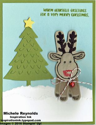 Handmade Christmas card using Stampin' Up! products - Cookie Cutter Christmas Photopolymer Stamp Set, Perfect Pines Framelits, Cookie Cutter Builder Punch, Blender Pens, Mini Jingle Bells, and Candy Cane Lane Baker's Twine.  By Michele Reynolds, Inspiration Ink.