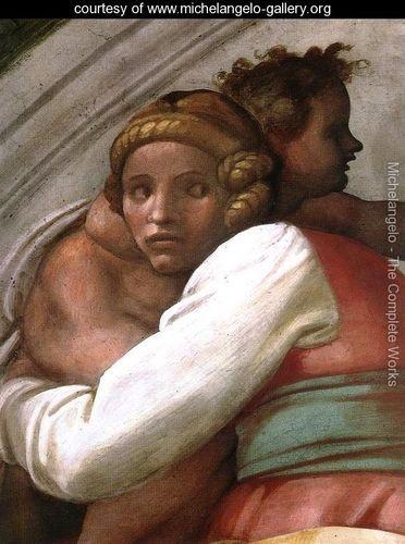 Josiah - Jechoniah - Shealthiel (detail-1) 1511-12 - Michelangelo Buonarroti - www.michelangelo-gallery.org