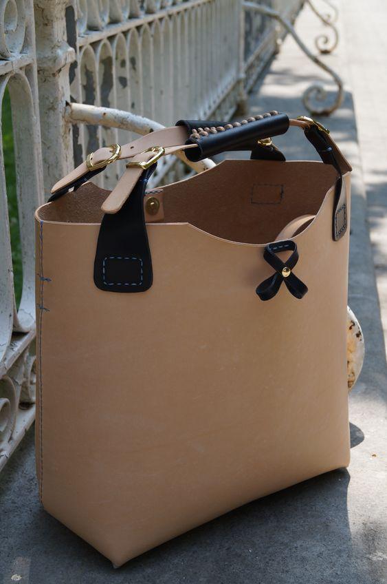 Tote Bag. Handcrafted Shopper Bag in natural leather. #handstitched. http://www.facebook.com/BagsOnly