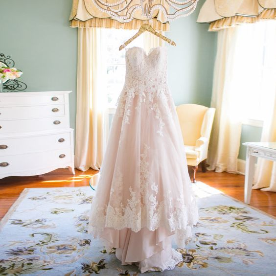 2015 Winter Appliques Lace Pink Wedding Dresses Plus Size Bride Dresses Elegant Sweetheart Garden Wedding Dresses  H-062