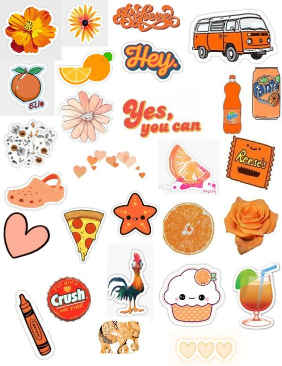orange stickers tumblr aesthetic cute sayings overlay edit crush soda drinks sticker pack flowers peach orange fruit