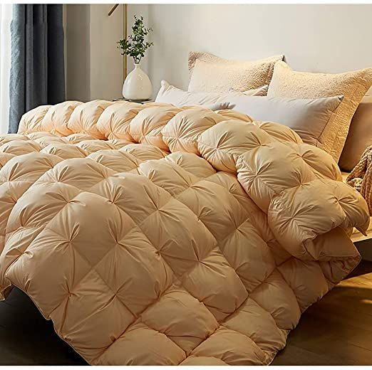 Luxury All Season Down Comforter Full Size Duvet Insert Feather Hypo Allergenic Grey Pinch Pleat 100 Cotton Cover Down Down Comforter Comforters Duvet Insert