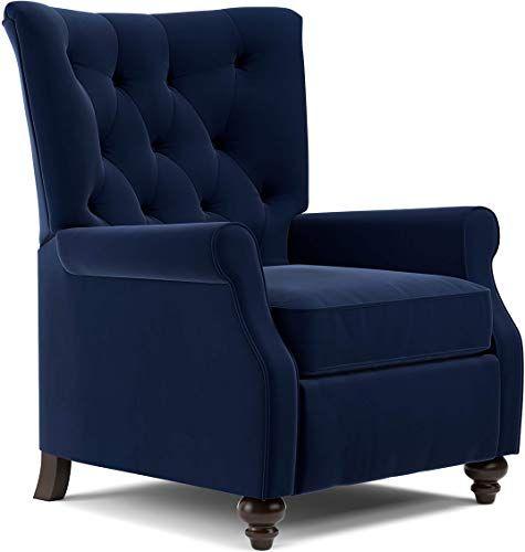 Best Seller Domesis Kursi Push Back Recliner Navy Blue Velvet Online In 2020 Blue Accent Chairs Single Sofa Chair Recliner