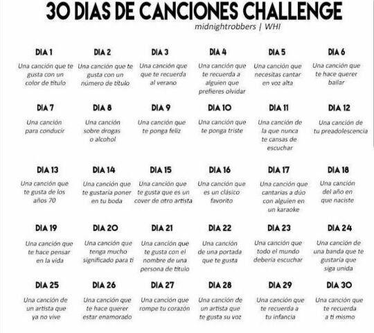 30 Días De Canciones Challenge Canciones Challenge Retos Para Instagram