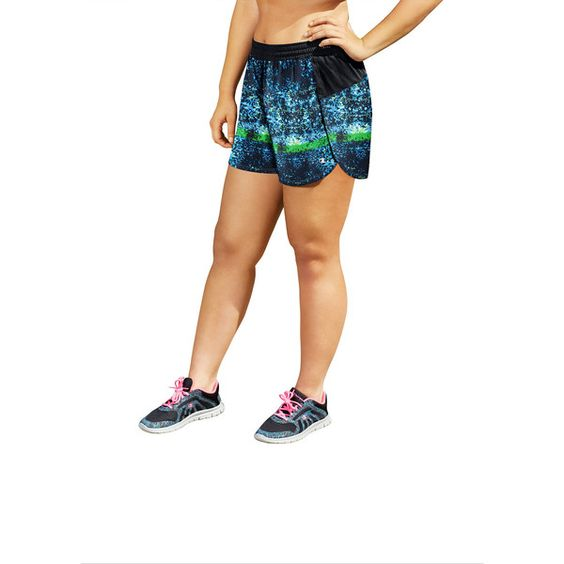 Champion Knit Workout Shorts (33 NZD) ❤ liked on Polyvore featuring plus size women's fashion, plus size clothing, plus size activewear, plus size activewear shorts, champion sportswear and champion activewear