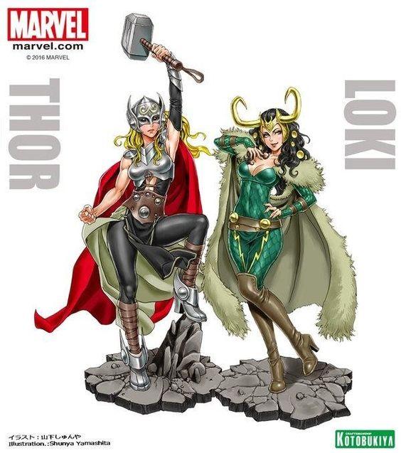 #Dessin miss #Thor et Loki bishoujo par #ShunyaYamashita marvel #CharaDesigner