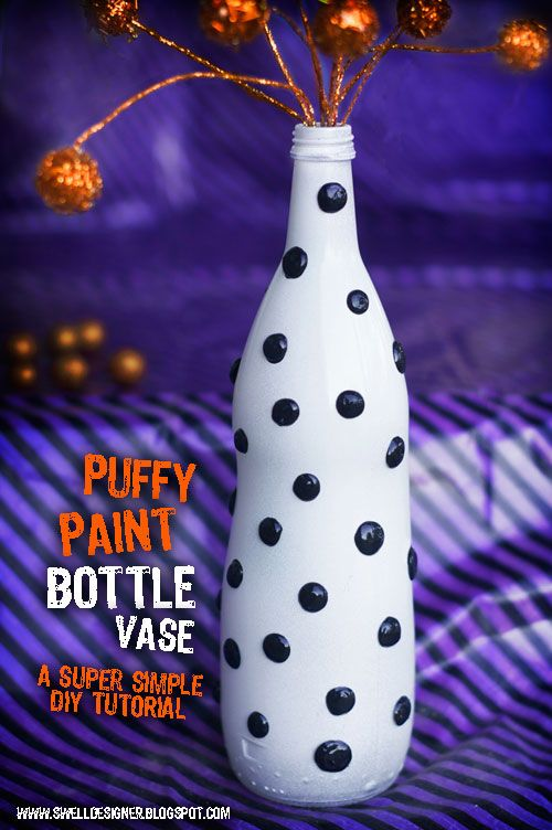 Puffy Paint Polka Dot Bottle Vase DIY