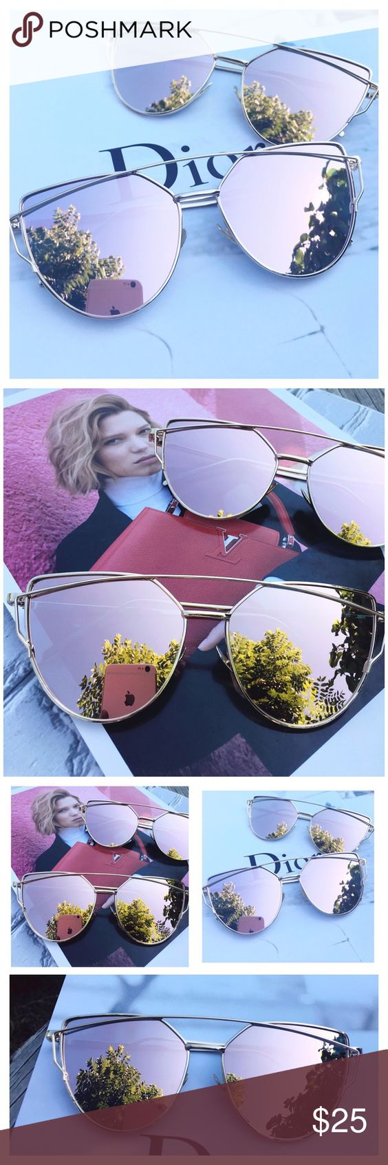 Rose Gold Mirrored Sunglasses, Reflective Sunglass Restocked! Cat Eye Aviator Sunglasses. This listing is for a pair of Cat Eye aviator sunshades. Rose Gold Mirrored Sunglasses. Retro. Sunglasses. Wire sunglasses. Trending sunglasses. UV protection. Top quality! Brand new! Bundle and save!                                              ✨1 for $20, 2 for $30, 3 for $40✨ Accessories Sunglasses