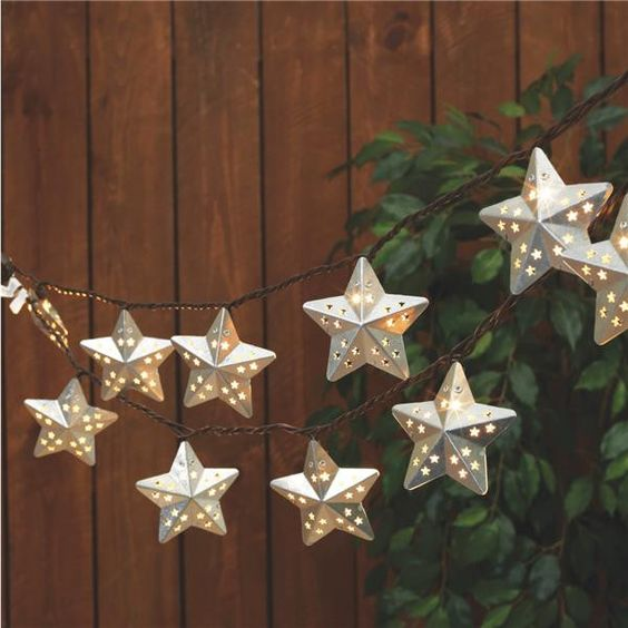 Galvanized Metal Star Patio String Lights Clear Bulbs Products