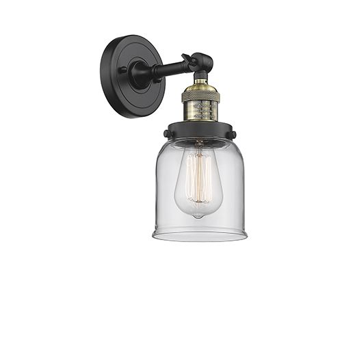 Small Bell Black Brushed Brass One Light Wall Sconce With Clear Bell Glass Sconces Innovations Lighting Adjustable Sconce