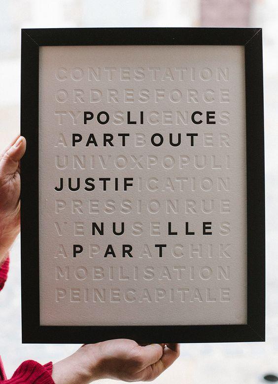 Badcass • Affiche en letterpress • 1 couleur en débossage + 1 débossage pur • Design : Sophie Pertuisel pour Badcass