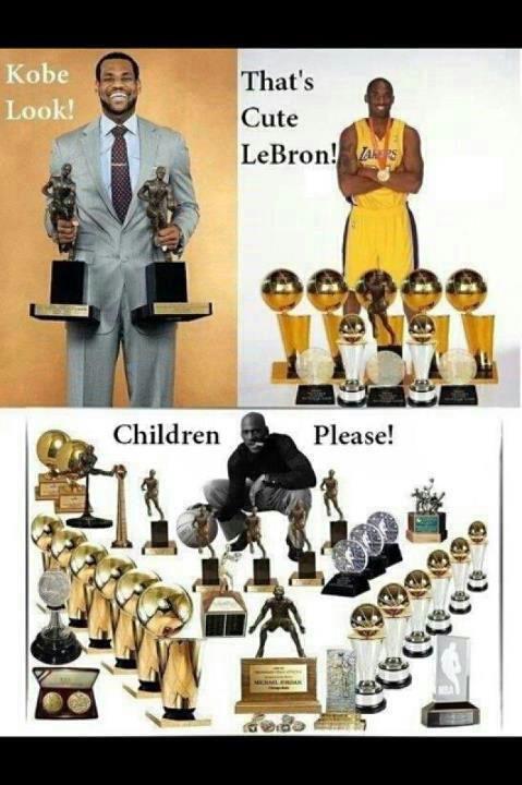 I love this! LeBron James, Kobe Bryant and Michael Jordan... You gotta long way to go LeBron and Kobe.