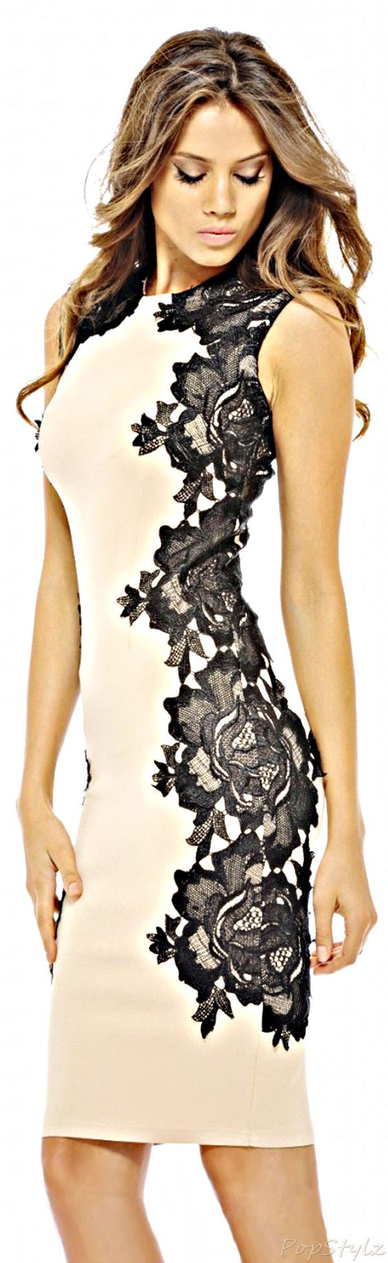 AX Paris Black Lace Side Creme Vestido Midi.  #fashion #Feminine #Crochet: