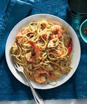 Linguine With Shrimp, Artichokes, and Crispy Bread Crumbs