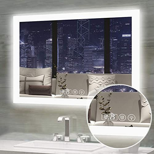 Amazing Offer On Gesipor 36x28inch Horizontal Led Bathroom Mirror Backlit Wall Mounted Vanity Mirrors Lighted Bathroom Mirror Touch Memory Switch Defogger In 2020 Led Mirror Bathroom Bathroom Mirror Bathroom Mirror Lights