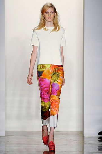 exaggerated floral print pant in bright, punchy tones! (just not with that shirt) Peter Som Spring 2012 RTW