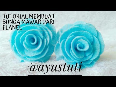 Tutorial Membuat Bunga Mawar Flanel Blue Roses Youtube Mawar Flanel Mawar Bunga