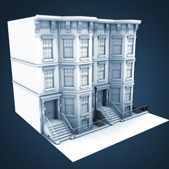 3d model of architectural nyc brownstone city building for 3d house builder