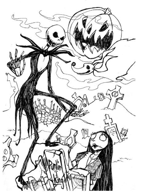 Jack Skellington Coloring Page With Wife Coloring Pages Christmas Coloring Pages Jack Skellington