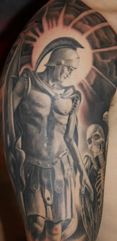 Tony Anderson created this stunning St. Florian shoulder piece