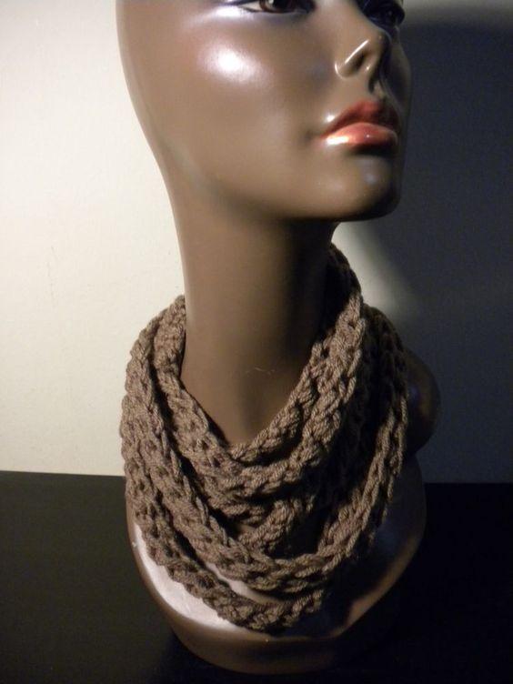 Crochet Rope Continuity| Crochet Infinity Scarf Wavy| handmade   $16 bid $25 buy it now