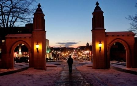 Sample Gates on the campus of Indiana University looking down Kirkwood Ave in Bloomington, Indiana