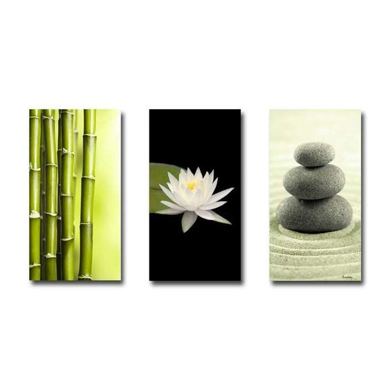 tableau triptyque compo zen bambous n nuphar galets d co zen pinterest zen. Black Bedroom Furniture Sets. Home Design Ideas