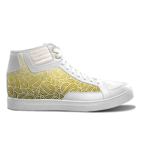 Ombre yellow and white swirls zentangle - Unisex Streetwear Sneakers Shoes by @savousepate on @IDXcustom