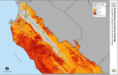 "A map showing the fire threat level around California's Monterey County — from <a href=""http://www.co.monterey.ca.us/cob/BOS%20Supplemental_addendum/December%2014,%202010/MCCWPP_November%202010_v2%20-%20FINAL%2012-10-10.pdf"">a 2010 community wildfire protection plan</a>. Red is extreme danger."