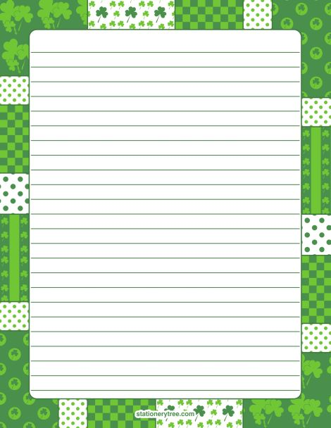Printable shamrock stationery and writing paper Multiple versions - lined stationary template
