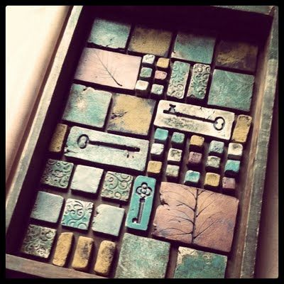 ceramic tile mosaic in an old drawer- would be so much fun to collect the tiles for this while junking