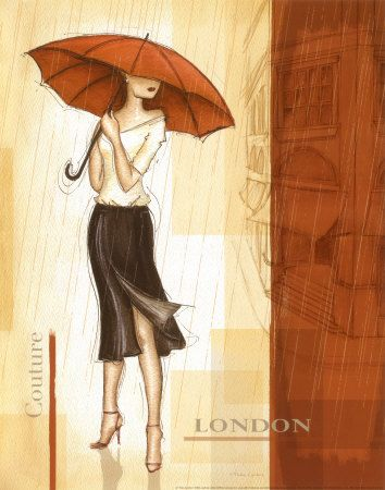 Rain London  by Andrea Laliberte ,painting,fashion