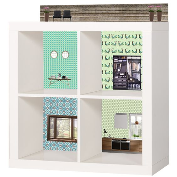 Dollhouse wallpaper for ikea kallax   behang poppenhuis ...