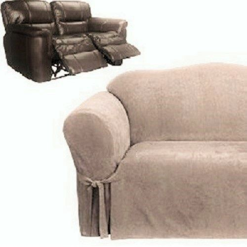 Dual Reclining Loveseat Slipcover Suede Taupe Sure Fit 2 Seater